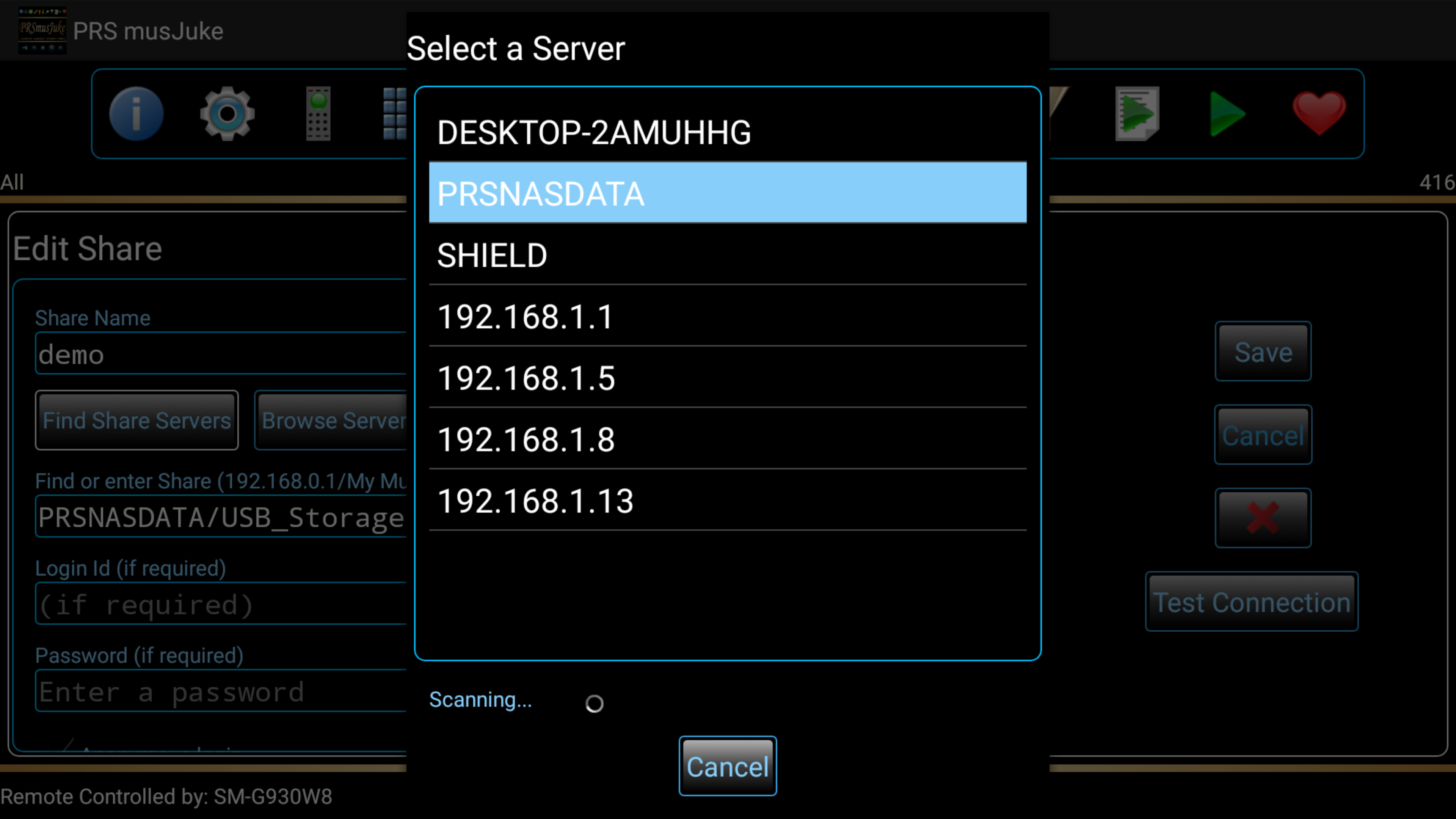 Select Servers or Devices on your network to scan